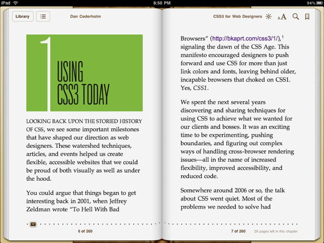 CSS3 for Web Designers on an iPad